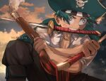 1boy bangs belt boku_no_hero_academia brown_pants clouds collarbone commentary cosplay_request day english_commentary freckles green_eyes green_hair green_jacket gun hat highres holding holding_gun holding_sword holding_weapon jacket jewelry male_focus midoriya_izuku mouth_hold necklace outdoors pants red_belt shirt skull_print sky solo sunset sword trubwlsum v-shaped_eyebrows weapon