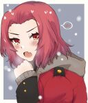 1girl blush border commentary drawstring fang from_side frown girls_und_panzer grey_background highres hood hood_down hoodie jacket long_sleeves looking_at_viewer medium_hair military military_uniform open_mouth orange_eyes outside_border red_jacket redhead rosehip_(girls_und_panzer) skin_fang snowing solo st._gloriana's_military_uniform sweatdrop uniform white_border zono_(inokura_syuzo029)