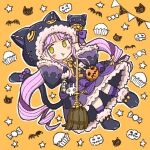 1girl :3 :t animal_hood bell black_capelet blush bow broom candy capelet cat_hood cupcake food full_body fur-trimmed_capelet fur-trimmed_hood fur-trimmed_skirt fur-trimmed_sleeves fur_trim halloween_costume hands_on_own_face hood hood_up hooded_capelet jack-o'-lantern koru_koruno kyouka_(princess_connect!) looking_at_viewer neck_bell paw_shoes princess_connect! pumpkin purple_hair shoes skirt solo star_(symbol) tail tail_bow tail_ornament twintails two_side_up yellow_eyes