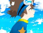 1boy animal bangs bird blue_shirt blue_sky blush brown_hair clouds copyright_name dated day digimon from_side goggles goggles_on_head hair_between_eyes hei_tai_(kyaputen1) male_focus medium_hair pointy_nose profile shirt sky solo tearing_up tears upper_body visor_cap yagami_taichi yellow_eyes