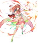1girl alternate_costume bangs bare_shoulders book bridal_gauntlets cape celica_(fire_emblem) detached_collar dress earrings fire_emblem fire_emblem_echoes:_shadows_of_valentia fire_emblem_heroes flower frilled_skirt frills full_body gradient gradient_clothes hair_ornament hairband highres holding holding_book jewelry kaekae long_hair looking_away magic official_art open_book open_mouth pink_dress red_eyes redhead shiny shiny_hair shoes skirt sleeveless thigh-highs transparent_background zettai_ryouiki