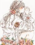 1girl blush brown_hair closed_eyes dated flower frilled_shirt frills hair_flower hair_ornament highres knees_up leaf long_hair original red_flower red_rose rose shirt signature simple_background solo toaruocha upper_body white_background white_shirt