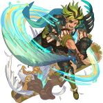 1boy aqua_cape armor artist_request bangs beard belt blank_eyes bone bone_weapon boots brown_hair cape claws collarbone collared_shirt dutch_angle eyepatch facial_hair feathers full_body gauntlets glowing greaves green_footwear green_hair happy highres hippogriff holding holding_sword holding_weapon jacket knee_boots leon_(world_flipper) light_trail looking_at_viewer male_focus medium_hair midair moss multicolored_hair non-web_source official_art open_mouth outstretched_arms pinstripe_pattern pouch red_eyes red_jacket shirt shoulder_armor sidelocks single_gauntlet smile solo spread_legs striped sword teeth tower transparent_background two-tone_hair v-shaped_eyebrows veins weapon white_shirt world_flipper yellow_eyes zipper