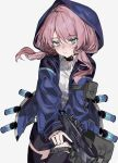 1girl aogisa arknights bangs black_choker black_legwear black_shorts blue_eyes blue_jacket blue_poison_(arknights) breasts choker cowboy_shot crossbow hair_between_eyes highres holding holding_crossbow holding_weapon hood hooded_jacket jacket long_hair long_sleeves looking_at_viewer low_twintails medium_breasts pink_hair pouch shirt shorts simple_background solo standing thigh-highs thigh_strap twintails weapon white_background white_shirt