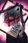 1boy 50k_v3 bangs black_jacket blood blood_on_face broken_glass checkered checkered_scarf commentary_request danganronpa_(series) danganronpa_v3:_killing_harmony glass hair_between_eyes hand_up holding iei jacket long_sleeves looking_at_viewer male_focus ouma_kokichi pink_background scarf short_hair solo upper_body violet_eyes weapon white_background