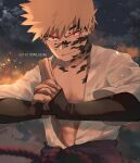 1boy abs artist_name bakugou_katsuki bangs black_gloves blonde_hair boku_no_hero_academia clothing_request clouds collarbone commentary cosplay english_commentary facial_mark gloves hands_up highres long_sleeves male_focus muscular naruto naruto_(series) night open_clothes outdoors own_hands_together red_eyes shirt short_hair solo spiky_hair trubwlsum uchiha_sasuke uchiha_sasuke_(cosplay) upper_body white_shirt
