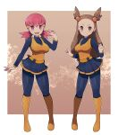 2girls ace_trainer_(pokemon) ace_trainer_(pokemon)_(cosplay) boots breasts brown_eyes cosplay covered_nipples eyebrows_behind_hair gym_leader hair_bobbles hair_ornament hairclip highres jasmine_(pokemon) knee_boots lamb-oic029 light_brown_eyes light_brown_hair long_hair long_sleeves medium_breasts multiple_girls outside_border pink_eyes pink_hair poke_ball pokemon pokemon_(game) pokemon_bw pokemon_hgss shiny shiny_clothes shiny_hair shoes smile thigh-highs twintails v-shaped_eyebrows whitney_(pokemon) wing_collar yellow_footwear