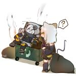 1boy 1girl ? animal_ears annoyed arknights arrow_(symbol) bear_boy bear_ears character_name highres jetpack kevin_(arknights) mascotmask mouse_ears mouse_girl mouse_tail recycle_bin recycling_symbol reunion_soldier_(arknights) scavenger_(arknights) speech_bubble tail trash_bag trash_can