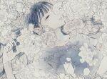 1girl bangs closed_eyes dated flower grey_shirt hand_up highres one_eye_covered original shirt short_sleeves signature solo toaruocha upper_body white_flower