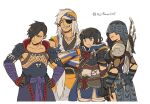2boys 2girls asaya_minoru bangs black_gloves black_hair blue_headband brown_eyes brown_gloves closed_mouth collarbone commentary_request covered_eyes eyepatch fishnets gloves grey_hair grin hair_ornament hair_over_one_eye hairclip hands_on_hips headband kamura_(armor) monster_hunter_(series) monster_hunter_rise multiple_boys multiple_girls simple_background smile standing twitter_username white_background x_hair_ornament