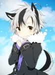 1boy animal_ear_fluff animal_ears bangs black_hair black_jacket blue_sky closed_mouth clouds cloudy_sky day dog_boy dog_ears dog_tail eyebrows_visible_through_hair fang fang_out fur-trimmed_jacket fur_trim grey_hair jacket kamiyoshi_rika kemonomimi_mode long_sleeves looking_at_viewer male_focus multicolored_hair nijisanji open_clothes open_jacket outdoors purple_shirt shirt sky sleeves_past_wrists solo streaked_hair suzuki_masaru tail virtual_youtuber