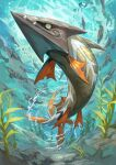 absurdres air_bubble arrokuda barraskewda bubble closed_mouth commentary_request fangs fangs_out fish from_below gen_8_pokemon highres no_humans pokemon pokemon_(creature) sumosamo swimming underwater water_surface yellow_eyes