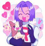 1boy closed_eyes food gen_1_pokemon gen_2_pokemon gen_8_pokemon happy heart highres james_(pokemon) lr_cu3 meowth morpeko open_mouth pokemon pokemon_(creature) smile wobbuffet