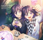 2boys :d absurdres arm_up bangs black_jacket buttons cake card checkered checkered_scarf clenched_hand commentary_request cup danganronpa_(series) danganronpa_v3:_killing_harmony dated double-breasted drinking_glass drinking_straw dual_persona ewa_(seraphhuiyu) fang food grey_jacket hair_between_eyes hands_up happy_birthday highres holding indoors jacket long_sleeves looking_at_viewer male_focus multiple_boys official_alternate_costume open_mouth ouma_kokichi parted_lips plant purple_hair scarf sitting skull_print smile soda teeth upper_teeth violet_eyes white_jacket