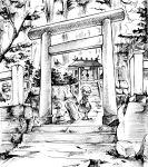 1girl commentary_request dress greyscale hat long_sleeves maribel_hearn mob_cap monochrome outdoors shide shoes shrine solo stairs stone_lantern torii touhou tree wide_shot yoshida._(kbkbhihi)