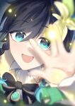 1boy absurdres androgynous bangs black_hair blue_hair blurry blurry_foreground bow braid brooch cape collared_cape collared_shirt commentary_request eyebrows_visible_through_hair flower frilled_sleeves frills gem genshin_impact gradient_hair green_eyes hair_flower hair_ornament hanaki_yuu highres jewelry leaf light_particles long_sleeves looking_at_viewer male_focus multicolored_hair open_mouth shirt short_hair_with_long_locks smile solo twin_braids venti_(genshin_impact) white_flower white_shirt
