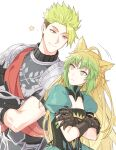 1boy 1girl achilles_(fate) ahoge animal_ears armor atalanta_(fate) cat_ears crossed_arms fate/apocrypha fate/grand_order fate_(series) gloves gradient_hair green_eyes green_hair lion_ears long_hair looking_at_another mikkat multicolored_hair short_sleeves two-tone_hair undercut yellow_eyes