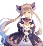 1girl blush brown_hair eyebrows_visible_through_hair green_eyes highres looking_at_viewer luna_(shadowverse) princess_connect! shadowverse shimon_(31426784) smile toy twintails white_background
