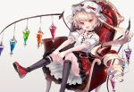 1girl :d blonde_hair chair choker cross-laced_clothes crystal fangs flandre_scarlet foot_out_of_frame grey_background hat highres looking_at_viewer mob_cap off_shoulder one_side_up open_mouth red_eyes rooseputo_02 simple_background sitting skin_fangs smile solo touhou wings