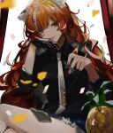 1girl animal_ears anya_pandaria atelier_live bangs black_shirt collared_shirt confetti daenarys english_commentary food fruit highres holding_chess_piece light_smile looking_at_viewer multicolored_hair pineapple raccoon_ears raccoon_girl shirt sitting smile solo streaked_hair virtual_youtuber white_hair