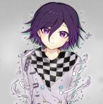 1boy arms_at_sides bangs black_scarf blush buttons checkered checkered_background checkered_floor checkered_neckwear checkered_scarf danganronpa_(series) danganronpa_v3:_killing_harmony double-breasted eyebrows_visible_through_hair flying_sweatdrops grey_background grey_scarf hair_between_eyes looking_at_viewer male_focus ouma_kokichi purple_hair scarf smile snow_finale solo straitjacket upper_body violet_eyes