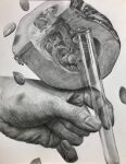 floating floating_object food graphite_(medium) greyscale hands highres holding monochrome original realistic seed senzaki-ryosuke shadow simple_background squash test_tube traditional_media white_background