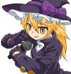 1boy bangs black_gloves black_headwear black_jacket blonde_hair bow commentary_request cookie_(touhou) eyebrows_visible_through_hair genderswap genderswap_(ftm) gloves hair_between_eyes hat hat_bow highres holding holding_microphone jacket kirisame_marisa long_hair looking_at_viewer male_focus microphone nob1109 open_mouth otoko_no_ko purple_bow rei_(cookie) simple_background solo touhou upper_body white_background witch_hat yellow_eyes