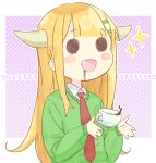 1girl background_text bangs blonde_hair coffee collared_shirt commentary_request cup eyebrows_visible_through_hair green_sweater hair_ornament hairclip halftone halftone_background horns jigatei_(omijin) long_hair long_sleeves madoromi-chan madoromi-chan_ga_iku. necktie puffy_long_sleeves puffy_sleeves red_neckwear romaji_text shirt sleeves_past_wrists solid_circle_eyes solo sparkle sweater upper_body very_long_hair white_shirt
