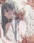 1girl angel_wings bangs camisole dated feathered_wings flower grey_eyes grey_hair hand_up highres long_hair original red_flower shadow signature simple_background sleeveless solo spider_lily toaruocha upper_body white_background white_camisole white_wings wings