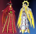 2girls angel arms_at_sides blue_background bone character_request claws closed_eyes cyborg demon_girl demon_horns demon_wings doom_(series) extra_eyes full_body gradient gradient_background green_eyes halo head_wings highres horns looking_at_viewer monster_girl multiple_girls pointy_ears red_background red_eyes slit_pupils smile substance20 third_eye wings