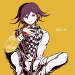 1boy bangs black_hair checkered checkered_scarf closed_mouth commentary_request danganronpa_(series) danganronpa_v3:_killing_harmony dated earrings eyebrows_visible_through_hair feet_out_of_frame flipped_hair full_body grey_pants hair_between_eyes hand_up jacket jewelry kiri_(2htkz) long_sleeves looking_at_viewer male_focus orange_background ouma_kokichi pants purple_hair scarf simple_background sitting smile solo straitjacket violet_eyes