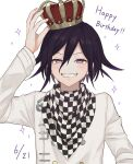 1boy alternate_headwear arm_up bangs black_hair blush checkered checkered_background checkered_scarf commentary_request crown danganronpa_(series) danganronpa_v3:_killing_harmony dated fangs grin hair_between_eyes happy_birthday highres looking_at_viewer mado_hara male_focus ouma_kokichi scarf simple_background smile solo sparkle teeth violet_eyes white_background