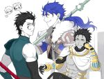 3boys achilles_(fate) archer_(fate) black_hair blue_hair chibi cu_chulainn_(fate)_(all) cu_chulainn_(fate/prototype) dark-skinned_male dark_skin fate/apocrypha fate/grand_order fate/prototype fate/prototype:_fragments_of_blue_and_silver fate/stay_night fate/zero fate_(series) gae_dearg_(fate) hair_strand lancer_(fate/zero) long_hair male_focus mikkat mole multiple_boys ozymandias_(fate) polearm ponytail red_eyes spear weapon yellow_eyes