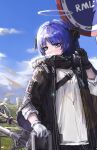 1girl arknights bag bangs black_gloves black_horns black_jacket blue_eyes blue_hair blue_sky chinese_commentary clouds commentary_request earphones earphones eyebrows_visible_through_hair fur-trimmed_jacket fur_trim gloves halo highres holding holding_bag holding_earphones horns jacket long_sleeves mismatched_gloves mostima_(arknights) mountain oreshki road_sign scenery shirt sign sky solo weapon weapon_on_back white_gloves white_shirt