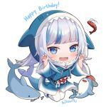 1girl :d animal animal_hood bangs bloop_(gawr_gura) blue_eyes blue_hair blue_hoodie chibi claw_pose commentary drawstring english_commentary eyebrows_visible_through_hair fish_skeleton fish_tail full_body gawr_gura hands_up happy_birthday hitsukuya hololive hololive_english hood hood_up hoodie long_sleeves multicolored_hair open_mouth shark_hood shark_tail sharp_teeth shoes shrimp silver_hair simple_background smile streaked_hair tail teeth thigh-highs virtual_youtuber white_background white_footwear white_legwear wide_sleeves
