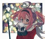 1girl artist_name azur_lane blurry bokeh border braid braided_bangs breath coat depth_of_field fur-trimmed_mittens hair_pom_pom highres koru_koruno lamppost light_rays looking_at_viewer red_coat redhead saratoga_(azur_lane) saratoga_(silent_night_songstress)_(azur_lane) scarf short_hair solo sparkling_eyes twintails two_side_up upper_body violet_eyes white_mittens white_scarf winter winter_clothes winter_coat