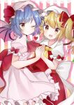 2girls ascot bangs bat_wings blonde_hair blue_hair blush bow brooch closed_mouth commentary_request cravat crystal doko_ka_no_hosono dress eyebrows_visible_through_hair fang feet_out_of_frame flandre_scarlet frilled_shirt_collar frilled_sleeves frills hair_between_eyes hat hat_ribbon heart highres holding_hands jewelry looking_at_viewer medium_hair mob_cap multiple_girls one_eye_closed one_side_up open_mouth pink_background pink_dress pink_headwear puffy_short_sleeves puffy_sleeves red_bow red_eyes red_ribbon red_skirt red_vest remilia_scarlet ribbon shiny shiny_hair shirt short_hair short_sleeves siblings sisters skirt sleeve_bow smile striped striped_background touhou two-tone_background vest white_background white_bow white_headwear white_shirt wings yellow_neckwear