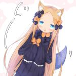 1girl :o abigail_williams_(fate) animal_ear_fluff animal_ears bangs black_bow black_dress blue_eyes blush bow brown_bow brown_hair cat_ears commentary_request dress dutch_angle fate/grand_order fate_(series) forehead hair_bow highres kemonomimi_mode long_hair long_sleeves looking_at_viewer no_hat no_headwear open_mouth parted_bangs polka_dot polka_dot_bow sleeves_past_fingers sleeves_past_wrists solo su_guryu tentacles very_long_hair white_background