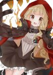 1girl bangs black_dress blonde_hair blunt_bangs brown_hair cloak commentary_request cowboy_shot doko_ka_no_hosono dress dutch_angle eyebrows_visible_through_hair frilled_dress frills highres hood hood_up hooded_cloak little_red_riding_hood_(sinoalice) long_hair looking_at_viewer open_mouth red_cloak shirt simple_background sinoalice smile solo white_background white_shirt
