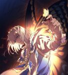 1boy blue_eyes bug butterfly butterfly_wings fate/grand_order fate_(series) highres insect insect_on_finger male_focus oberon_(fate) senzaki_makoto silver_hair twitter_username wings