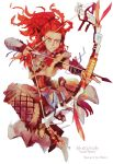 1girl aiming aloy_(horizon) armor arrow_(projectile) artist_name beads bow_(weapon) braid commentary_request copyright_name forehead freckles full_body greaves green_eyes hair_beads hair_ornament hairlocs headset highres horizon_zero_dawn jewelry jumping leather_armor long_hair multiple_braids necklace oboro_(kazegoyomi) redhead solo tribal vambraces weapon white_background