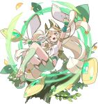 1girl armlet armpits arms_up artist_request ass aura bangs bare_shoulders bike_shorts blonde_hair bracelet branch brooch cape clothing_cutout crown emerald_(gemstone) esterielle_(world_flipper) flat_chest floating floating_object full_body gem glowing gold gold_trim green_legwear half-closed_eyes happy highres jewelry kneehighs leaf long_hair looking_down low_wings neon_trim non-web_source official_art outstretched_arms parted_bangs pointy_ears red_eyes see-through sidelocks smile solo stirrup_legwear toeless_legwear transparent_background v-shaped_eyebrows very_long_hair white_cape wind wings world_flipper yellow_headwear yellow_wings