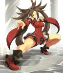 1girl absurdres anagumasan bare_legs bare_shoulders breasts brown_eyes brown_hair china_dress chinese_clothes covered_nipples dress fighting_stance guilty_gear guilty_gear_xrd high_heels highres large_breasts long_hair pose smile thick_thighs thighs wide_sleeves
