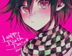 1boy :< bangs bbjj_927 black_hair blush checkered checkered_neckwear checkered_scarf closed_mouth commentary_request danganronpa_(series) danganronpa_v3:_killing_harmony dated happy_birthday highres jacket looking_at_viewer male_focus ouma_kokichi pink_background pink_eyes pink_hair scarf short_hair solo upper_body