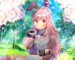 1girl animal_ears bangs black_gloves blurry blurry_background blurry_foreground blush character_request closed_mouth commentary_request cup day depth_of_field eyebrows_visible_through_hair gloves holding holding_cup holding_saucer indie_virtual_youtuber juliet_sleeves kouu_hiyoyo long_hair long_sleeves looking_at_viewer outdoors petals pink_hair puffy_sleeves rabbit_ears red_eyes ribbed_sweater saucer single_glove smile solo sweater tree upper_body very_long_hair virtual_youtuber white_sweater