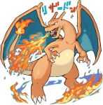 breathing_fire character_name charizard claws commentary_request fangs fire flame gen_1_pokemon haruken looking_to_the_side no_humans open_mouth pokemon pokemon_(creature) shiny solo tongue white_background