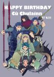 6+boys ;d arm_on_head armor asymmetrical_clothes bangs black_gloves blue_bodysuit blue_hair bodysuit braid character_name chest_tattoo chibi closed_eyes cu_chulainn_(caster)_(fate) cu_chulainn_(fate)_(all) cu_chulainn_(fate/prototype) cu_chulainn_(fate/stay_night) cu_chulainn_alter_(fate/grand_order) dated earrings facial_mark fangs fate/grand_order fate/grand_order_arcade fate/prototype fate/stay_night fate_(series) gae_bolg_(fate) gloves grin hair_over_shoulder hair_strand hand_on_hip happy_birthday holding holding_spear holding_weapon hood jewelry leaning_forward long_hair looking_at_viewer male_focus mini_cu-chan_(fate) mitsudomoe_(shape) monster_boy multiple_boys one_eye_closed open_mouth parted_bangs polearm ponytail purple_background red_eyes sandals setanta_(fate) simple_background single_braid smile spear spiked_tail tail tattoo thigh_gap toeless_legwear tomoe_(symbol) weapon x-r5xxxlove