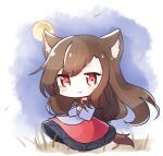 1girl animal_ears bangs blouse blush brown_hair chibi closed_mouth dress eyebrows_visible_through_hair eyes_visible_through_hair full_moon gem hair_between_eyes hands_together hands_up imaizumi_kagerou long_hair looking_at_viewer moon night night_sky pudding_(skymint_028) red_dress red_eyes sky smile solo standing tail touhou white_blouse wolf_ears wolf_tail yellow_moon