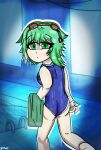 anime ass butt cute feet gumi looking_at_viewer pov school_swimsuit swimming_pool swimsuit vocaloid wet zrox