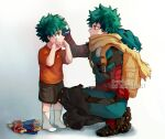 2boys all_might backpack bag bangs black_footwear bodysuit boku_no_hero_academia boots brown_scarf brown_shorts child crying doll dual_persona english_commentary freckles from_side full_body gradient gradient_background green_bodysuit green_eyes green_hair grey_background hand_on_another's_head hood hood_down male_focus midoriya_izuku multiple_boys orange_bag rin_(rinriemie) scarf shorts smile squatting standing tears torn_clothes younger